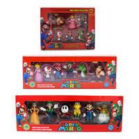 6 unids/set 3-7cm Super Mario Bros PVC figura de acción juguetes muñecas Mario Luigi Yoshi seta Donkey Kong en caja de regalo para niños encantadores