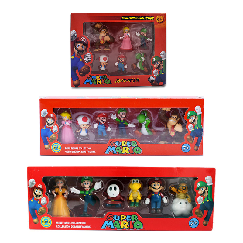 6Pcs/Set 3-7cm Super Mario Bros PVC Action Figure Toys Dolls Mario Luigi Yoshi Mushroom Donkey Kong In Gift Box Lovely Kids Gift