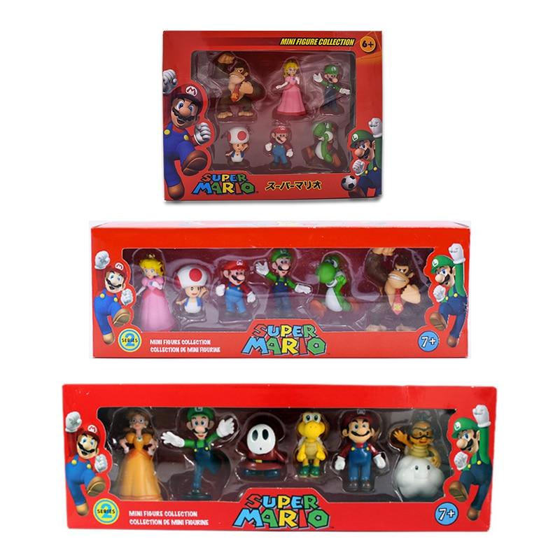 6Pcs/Set 3-7cm Super Mario Bros PVC Action Figure Toys Dolls Mario Luigi Yoshi Mushroom Donkey Kong In Gift Box Lovely Kids Gift