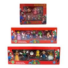 6 unids/set 3-7cm Super Mario Bros PVC figuras de acción de juguete muñecas Mario Luigi Yoshi hongo Donkey Kong en caja de regalo encantador regalo para niños