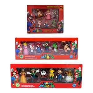 6Pcs/Set 3-7cm Super Mario Bros PVC Action Figure Toys Dolls Mario Luigi Yoshi Mushroom Donkey Kong In Gift Box Lovely Kids Gift(China)