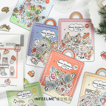 100 pcs Cute animal girl flower  Decorative Kawaii Stationery Stickers Scrapbooking DIY Diary Album Stick Lable - discount item  18% OFF Stationery Sticker