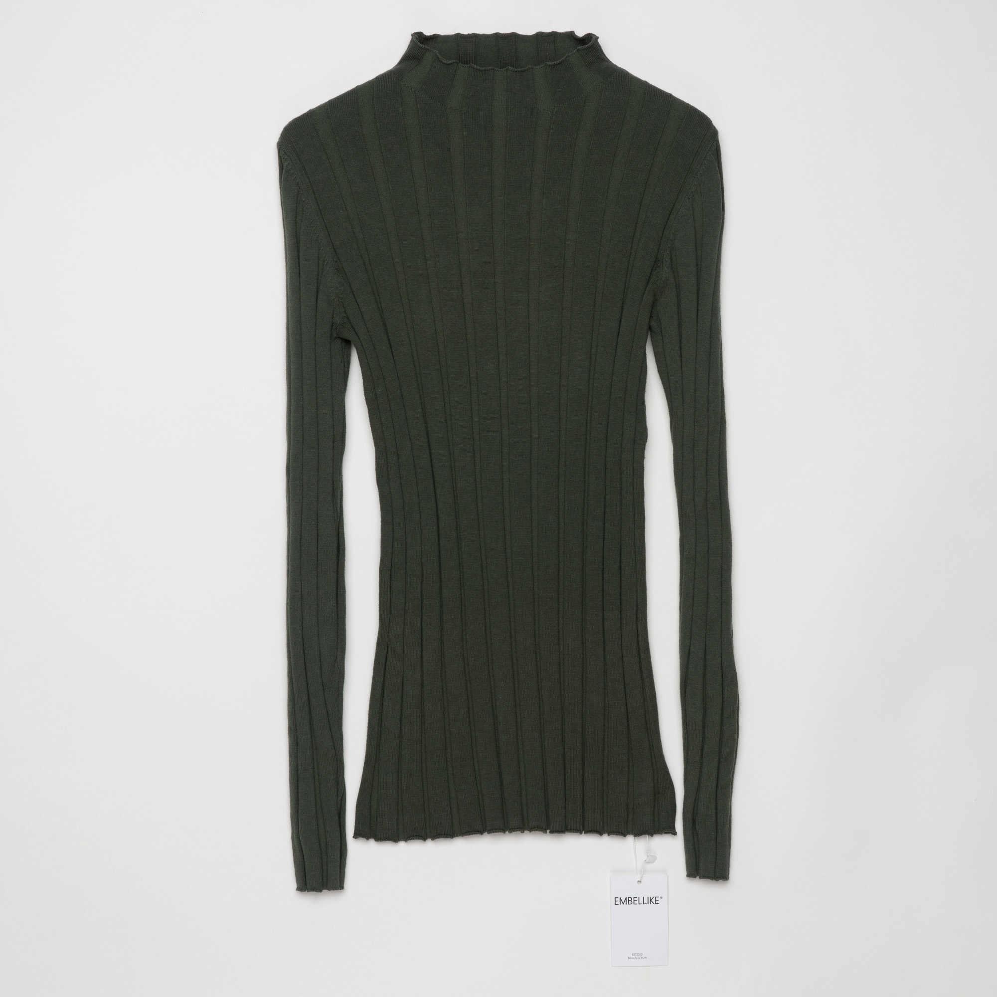 100% Donne Maglione di Cotone A Costine Maglia Magliette e camicette Mock Collo Maglione Pullover di Base