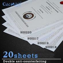 20 feuilles Anti-contrefaçon filigrane et Fluorescence sous rayonnement Ultraviolet A4 papier imprimable rétro épais Certificat