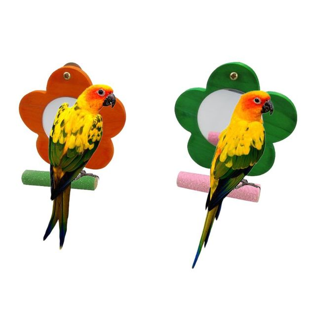 Colorful Wood Bird Parrot Mirror Toy with Perch for Conure Finch Cage Stand Paw Grinding Perch 1