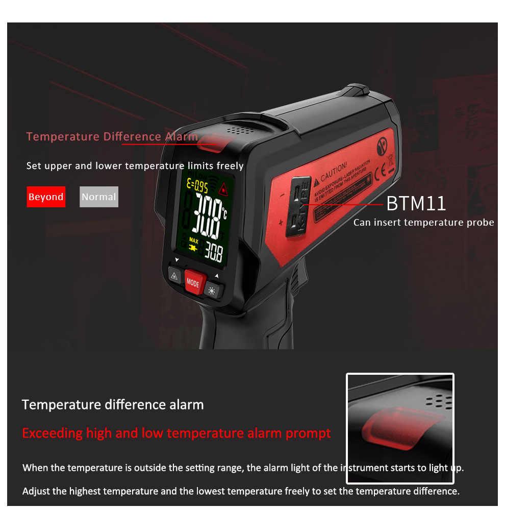 BSIDE thermomètre infrarouge numérique affichage couleur pistolet Laser 12 points testeur IR pour viande eau lait BBQ cuisson Temp mètre k-type