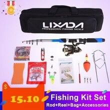Lixada, телескопическая удочка, комбинированная удочка, набор, 2,1 м, для рыбалки, RodFishing, комплекты, катушка, шестерня, набор, спиннинговые приманки, крючки, джиг-голова