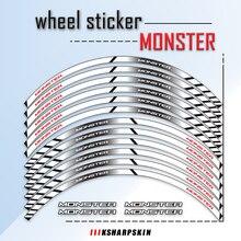 Roda reflexiva estilo adesivos frente jantes traseiras adesivo de alta adesão decalques aro à prova dwaterproof água para ducati monster 696 797 821 795