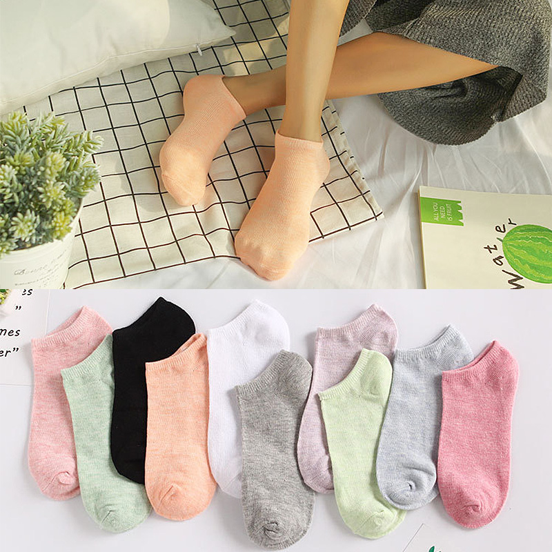 Candy Color Girl 1Pair Colored Cotton Boat Socks 10Colors Sock Invisibility Fashion All-Match Woman Casual