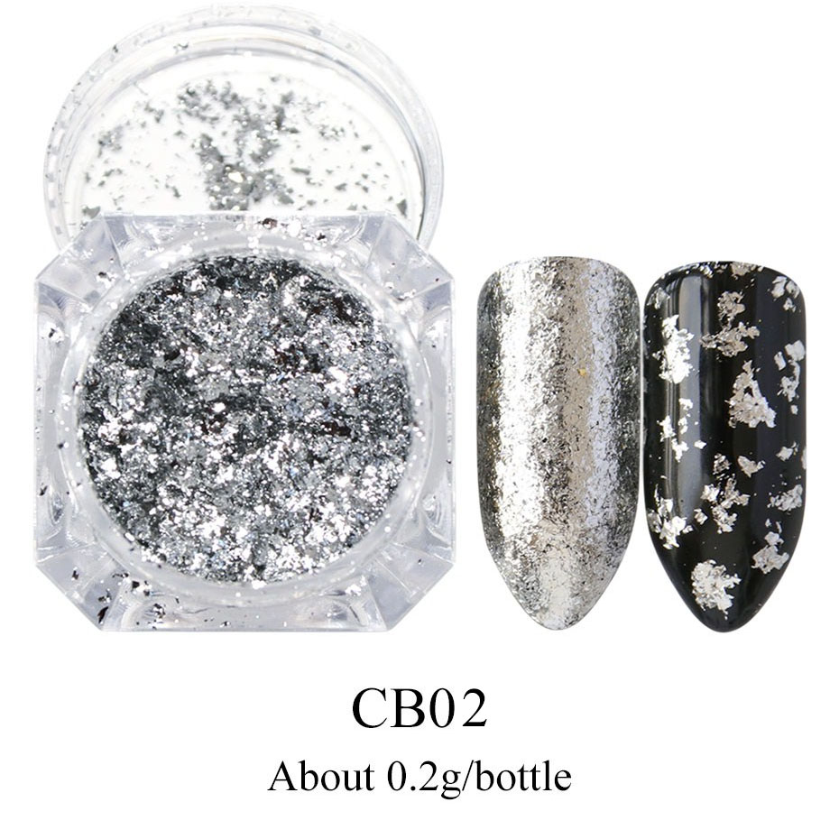 0 2g Holographic Glitter Powder Nail Art Mirror Firework Sequins Gold Silver Foil Pillette Irregular Flake Nails Decor LYCB01 02 in Nail Glitter from Beauty Health