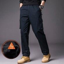 Male Trousers Cargo-Pants Fleece Winter Men Cotton Fashion Autumn Lined Business Solid-Color