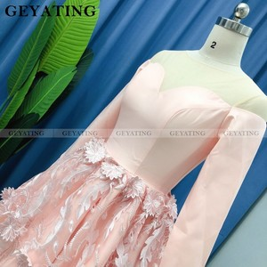 Image 5 - Elegant Long Sleeves Blush Pink 3D Floral Homecoming Dresses 2020 A line Knee Length Short Cocktail Dress Graduation Party Gowns