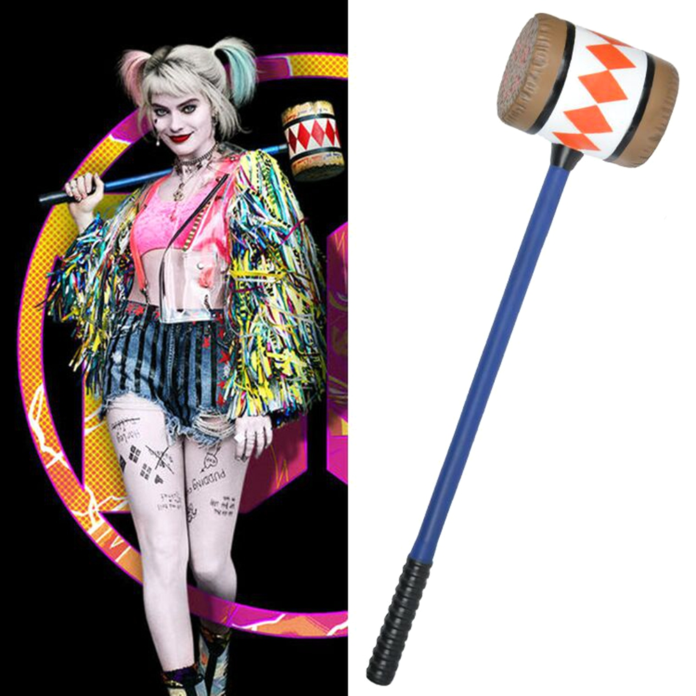 Birds of Prey Cosplay Harley Quinn Mallet Hammer Smile Face <font><b>Suicide</b></font> Squad Bat Halloween Party Costume Props image