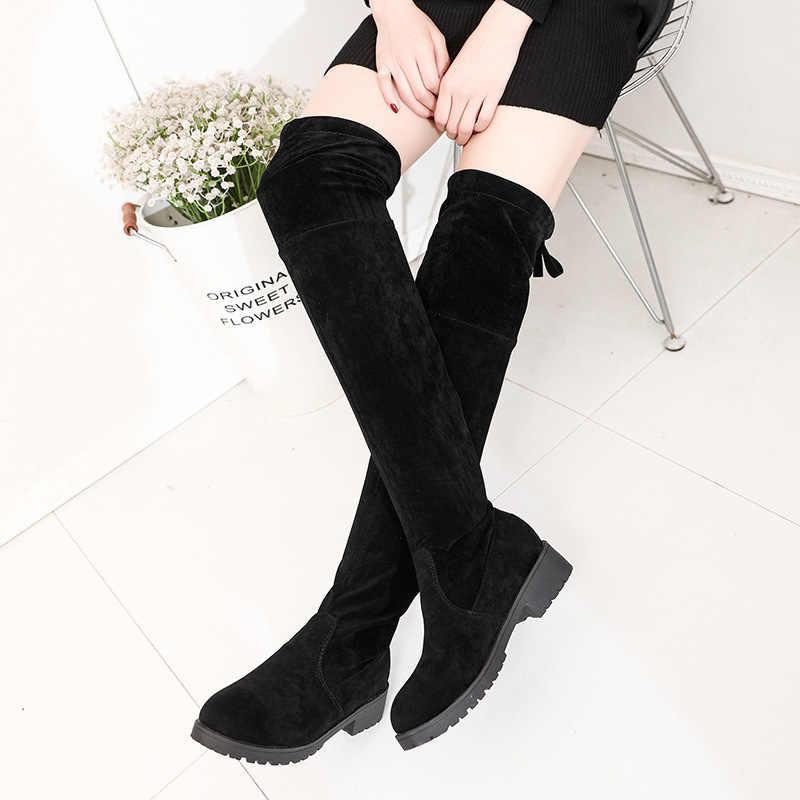 LZJ 2019 femmes taille 34-41 mode nouveau hiver cuissardes bottes Faux daim chaud cuir talons hauts femmes sur le genou chaussures