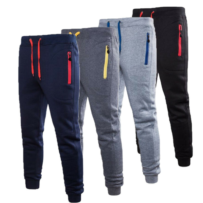 Men Casual Pants Long Trousers Tracksuit Gym Sport Workout Joggers Solid Pockets Sweatpants Plus Size M-3XL