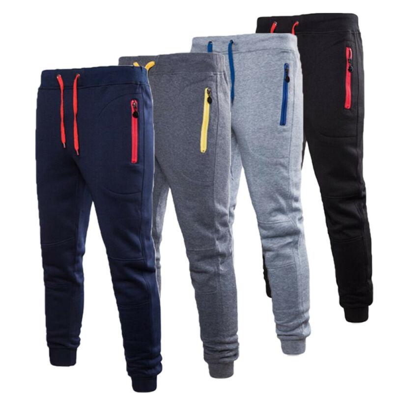 Men Casual Pants Long Trousers Tracksuit Gym Sport Workout Joggers Solid Pockets Sweatpants Plus Size M-3XL