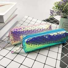 Pencil-Case Supplie Mermaid-Scale Glitter Gift Kawaii Stationery Office Girl School Laser