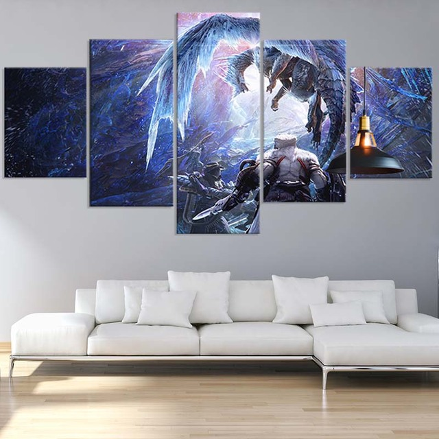 5 Piece Video Game Poster Monster Hunter World Iceborne Game Figure Wall Art Picture Home Decor Artwork Painting Wall Sticker