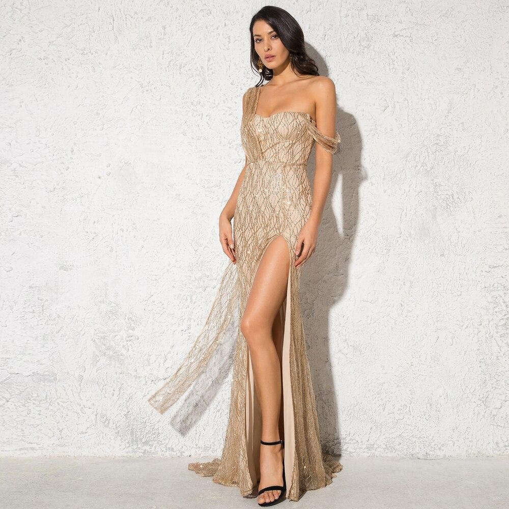 One Shoulder Gold Glittered Maxi Dress Split Leg Backless Sexy Backless Floor Length Evening Party Dress