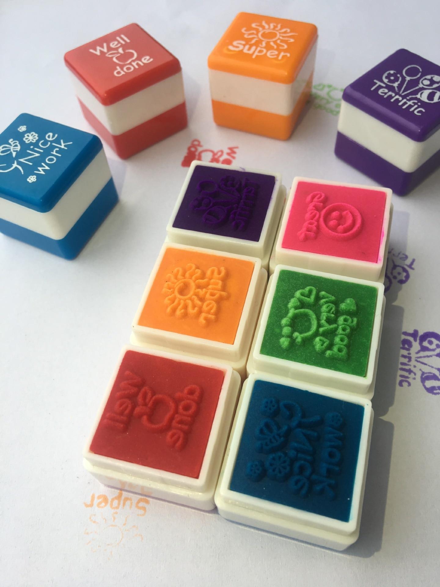 6pc/set Kindergarten Teachers Reward Stamper Sticker DIY English Words Kids Toys Children School Motivation Praise Reward Stamps