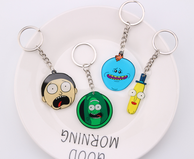Rick And Morty Keychain Women and Men Key Chain Cute Anime Cartoon Kids Key Ring Gift Porte Clef 3