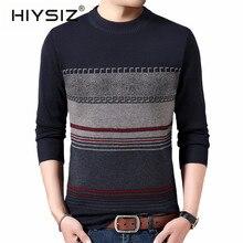 HIYSIZ бренд Pull Homme уличная одежда свитер Мужская одежда Осень Зима Модный Полосатый приталенный свитер с круглым вырезом для мужчин H3013