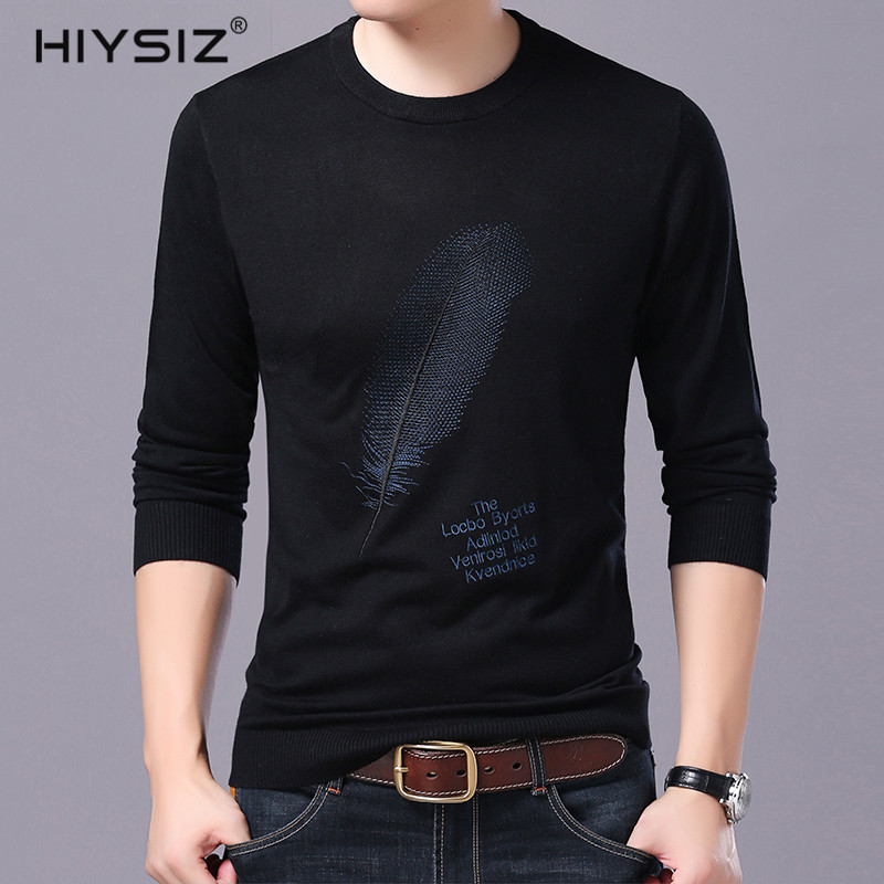 HIYSIZ Brand New 2019 Fashion Trend Sweater Feather Pattern Casual O Neck Autumn Winter Long Sleeves Streetwear Pullover SW022 in Pullovers from Men 39 s Clothing