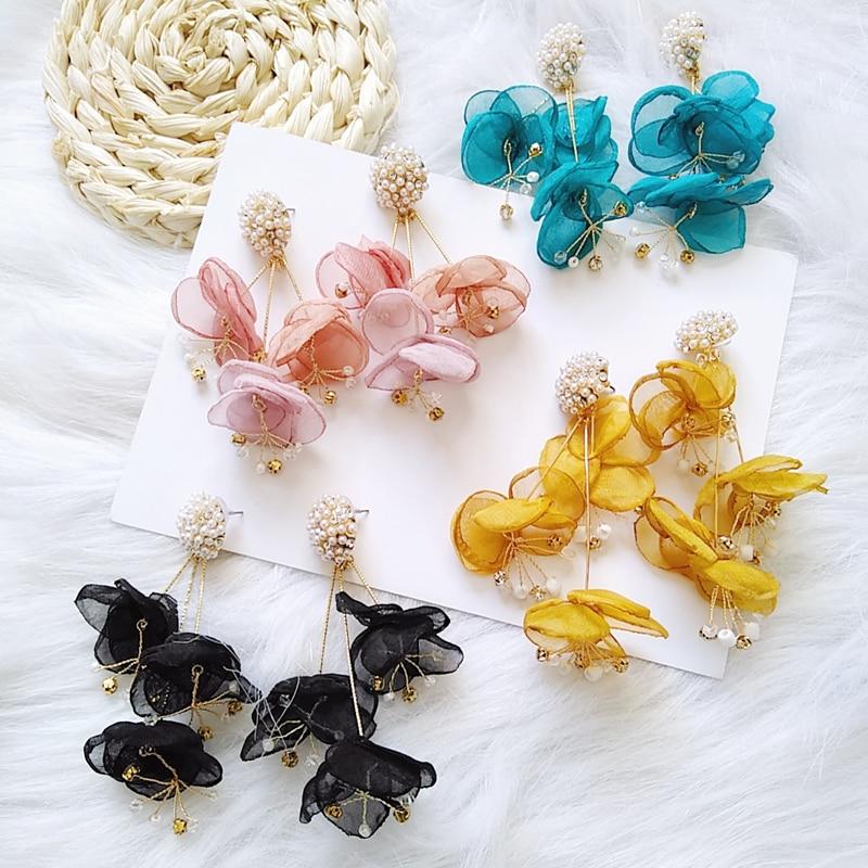 Ztech-pendientes de flores de encaje de alta calidad para mujer, aretes de flor de rosa de Rosa grande, aretes de gota, joyería