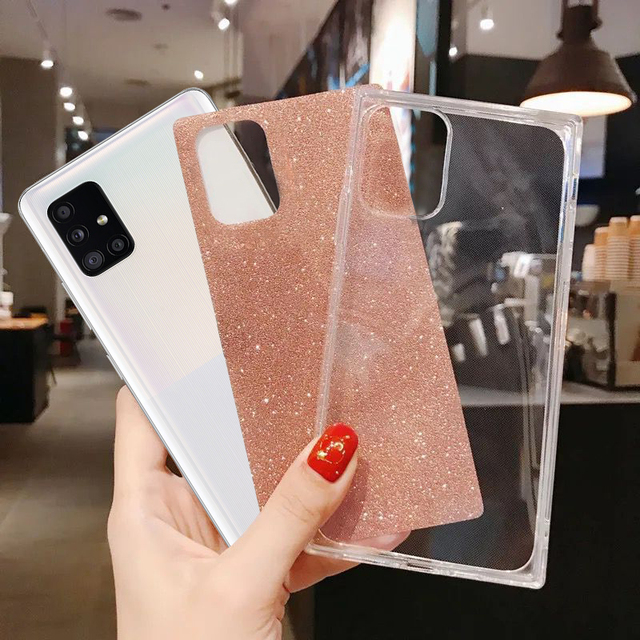 Square Fluorescent Glitter Phone Case For Samsung S20 FE Plus Note 20 Ultra S10 A71 A51 A50 A70 S21 Ultra FE A52 A72 Soft Cover 5