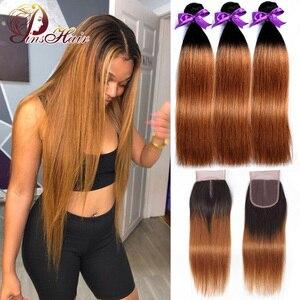 Image 1 - Miód blond wiązki z zamknięciem peruwiańskie proste włosy Ombre 3 wiązki z zamknięciem 1B 30 ludzkie włosy wyplata Pinshair Remy włosy