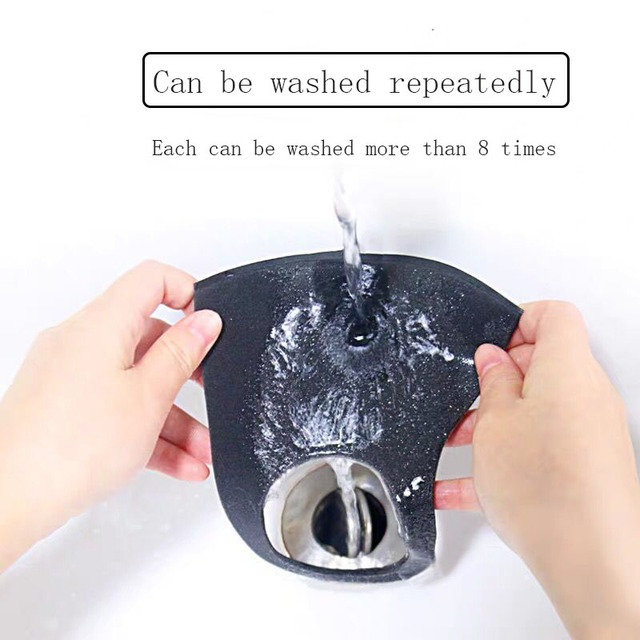 100pcs Fashion Black Pollution Face Mask Anti Air Dust Smoke With Elastic Earloop Washable Filter Mouth Masks Made For Men Women 3