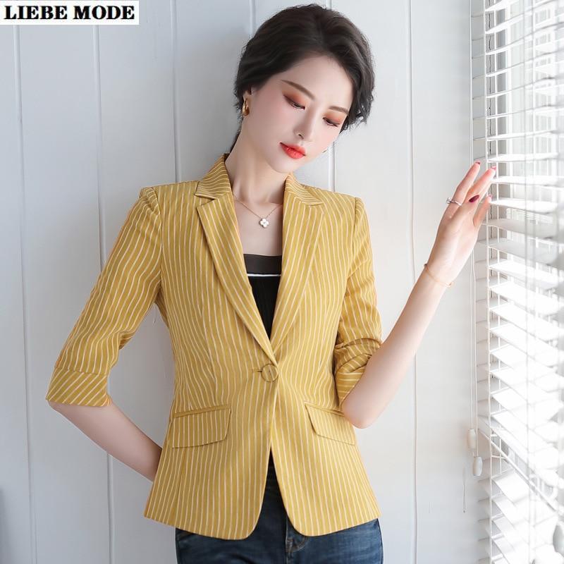 2020 New Summer Women Short Sleeve Slim Fit Jacket Blazer Plus Size Women Blue White Yellow Striped Blazer Femme Plus Size 4XL