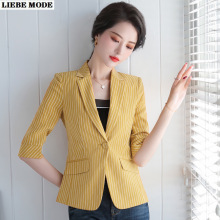 2020 New Summer Women Short Sleeve Slim Fit Jacket Blazer Plus Size Women Blue White Yellow Striped Blazer Femme Plus Size 4XL