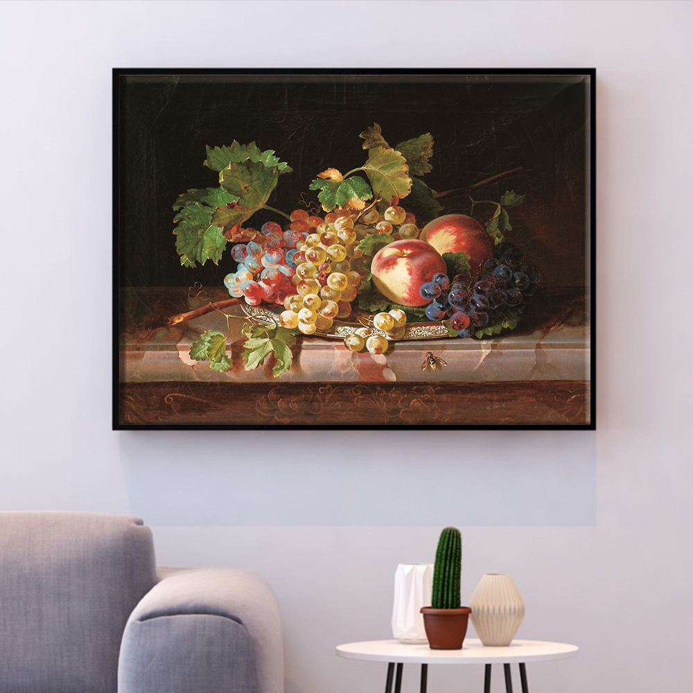 HUACAN Embroidery Fruit Kits Cross Stitch Food Still Life Needlework Sets White Canvas DIY Home Decor 14CT 40x50cm