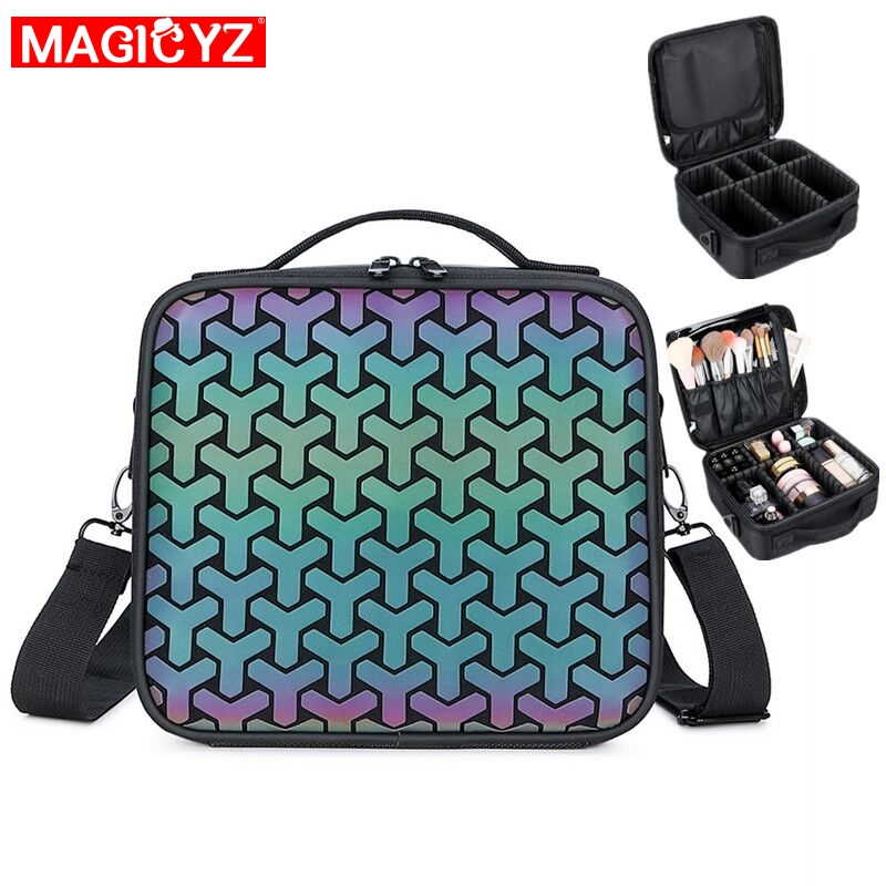Fashion Women Handle Make Up Bags Girl Beauty Case Luminous Laser Shoulder Bag High Capacity Suitcases For Makeup Bag