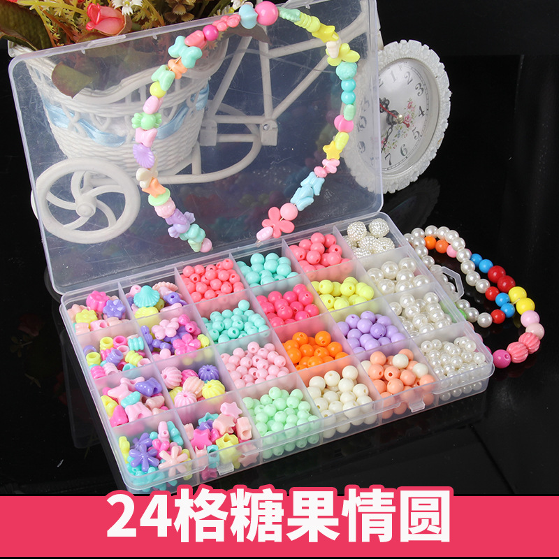 24 Lattice Beaded Bracelet CHILDREN'S Toy Wear Beads Do Bracelets Necklace GIRL'S Gift Weak Sight Training Handmade DIY Material