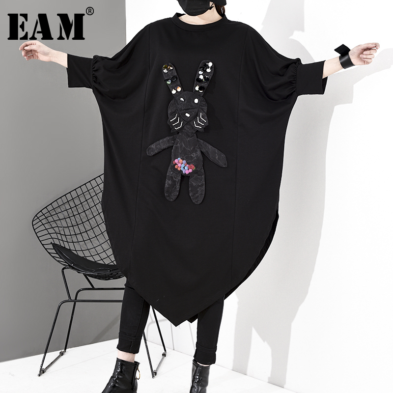 [EAM] Women Pattern Asymmetrical Big Size Dress New Round Neck Three-quarter Sleeve Loose Fit Fashion Spring Summer 2020 1S048