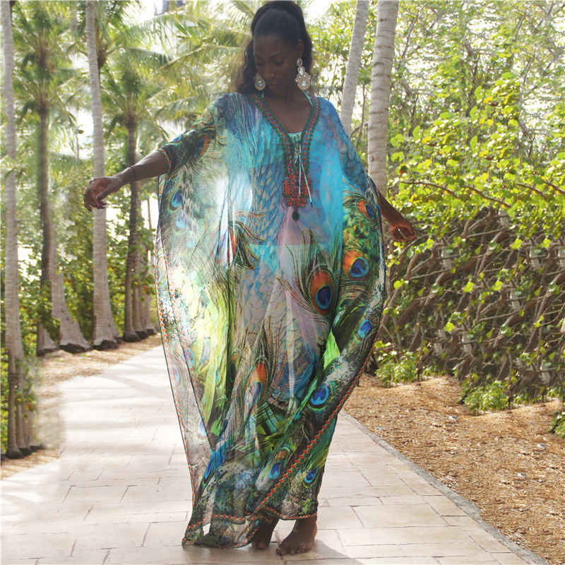 Panjang Sifon Beach Cover Up Wanita Gaun Robe De Plage Vestidos Playa Bikini Cover Up Pareos De Playa Mujer Pakaian Renang # Q1041