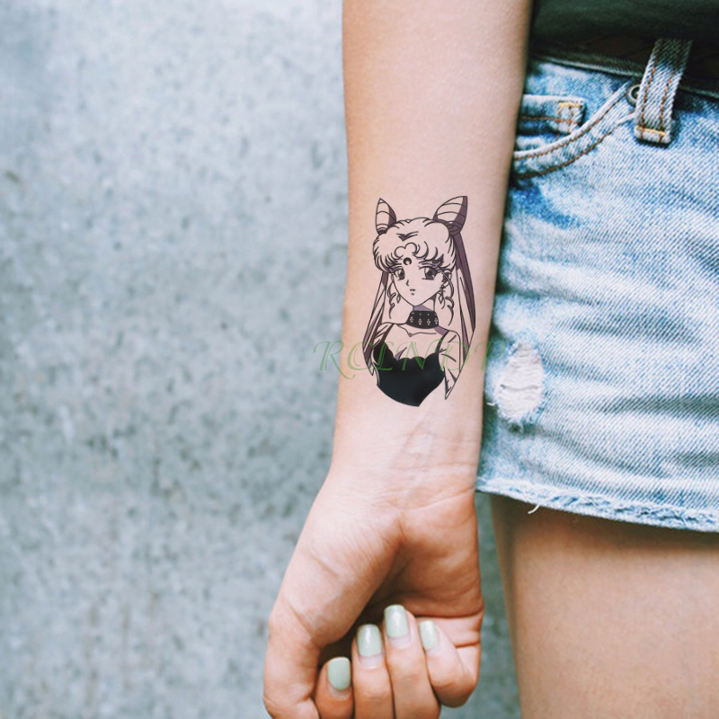 Waterproof Temporary Tattoo Sticker Sailor Moon Cartoon Girl Cute Tatto Flash Tatoo Fake Tattoos For Kids Girls Men Women