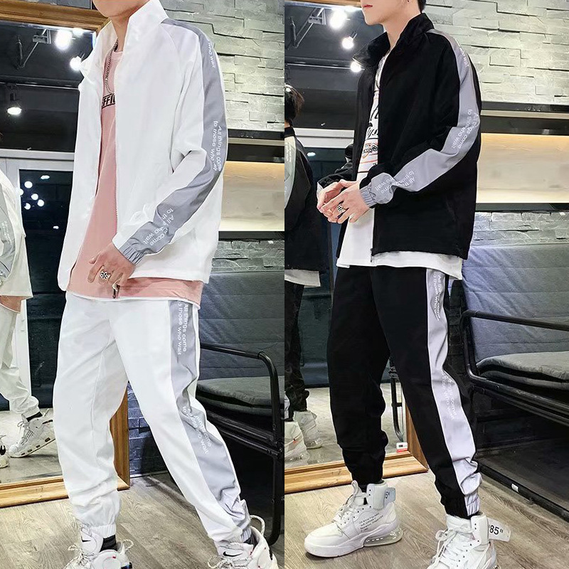 3M Lettered Reflective Set Men's Autumn And Winter Popular Brand Men And Women-Hip Hop Sports Casual Jacket Couples Two-Piece Se