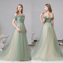 Off shoulder elegant green puffy formal party gown prom evening dress