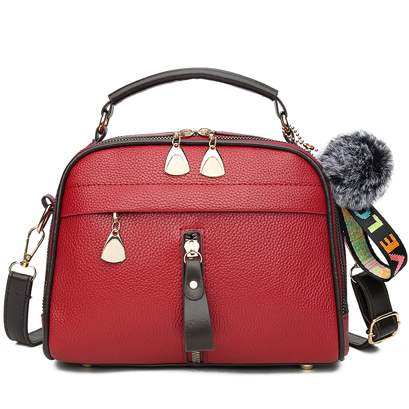 2019 Women Shoulder Bags Crossbody Bag For Women Handbag PU Leather Full Moon Candy Color Cute With Fur Ball Shell Shape Bag Red