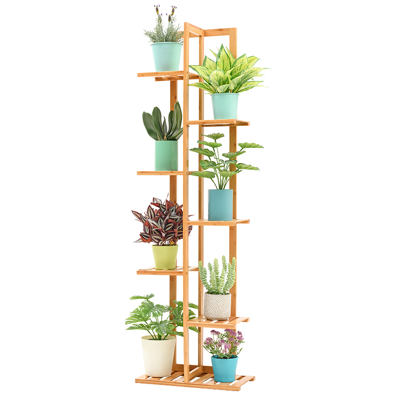 Balcony Solid Wood Flower Rack Living Room Multi-storey Rack Green Radish Flower Pot Shelf Indoor Flower Shelf Save Space