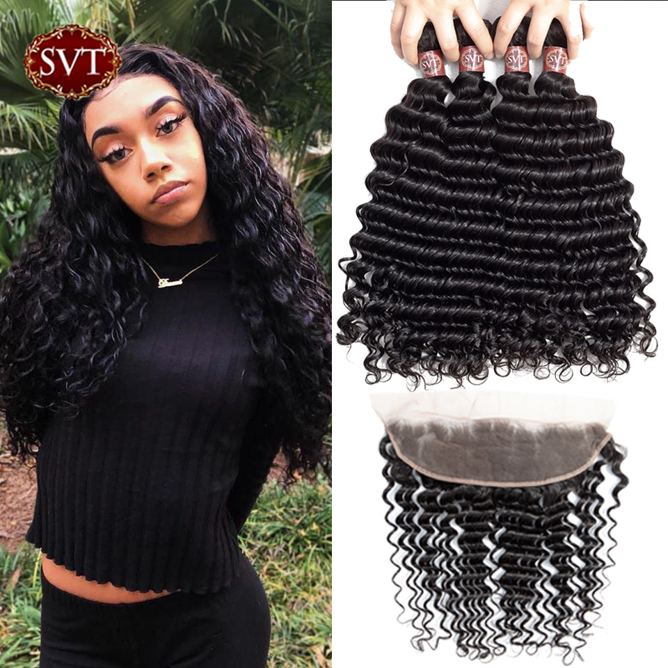 SVT Hair Deep Wave Bundles With Frontal Brazilian Hair Weave Bundles With Frontal Non-Remy Human Hair Bundles With Closure