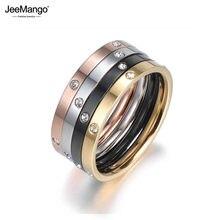 JeeMango – bague de fiançailles 4 en 1 pour femme, bijou en acier titane et zircon cubique, couleur or, Anneaux de mariage, JR18016