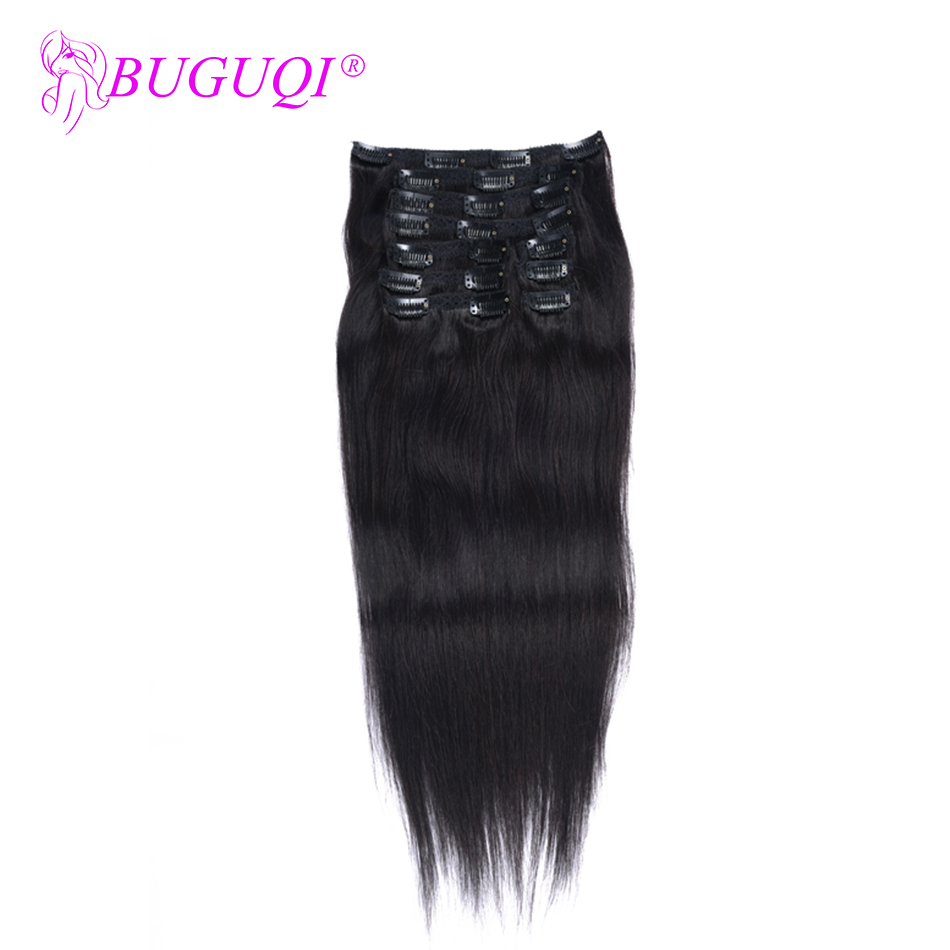 BUGUQI Hair Clip In Human Hair Extensions Brazilian Natural Black Remy 16-26 Inch 100g Machine Made Clip Human Hair Extensions
