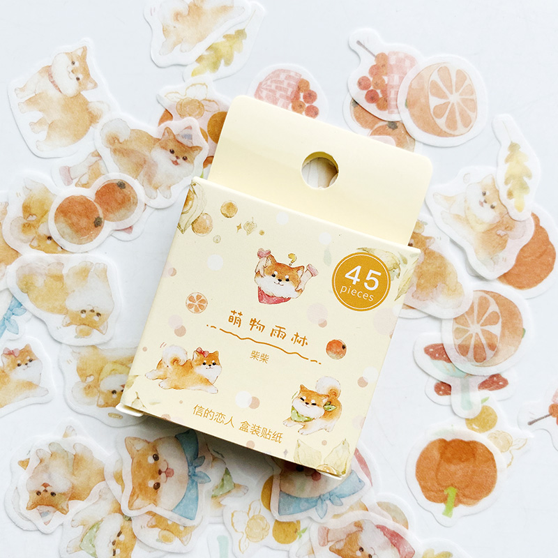 45PCS/Pack Cute Dog Shiba Inu Paper Sticker Adhesive Craft Stick Label Notebook Computer DIY Decor Kids Gift Stationery