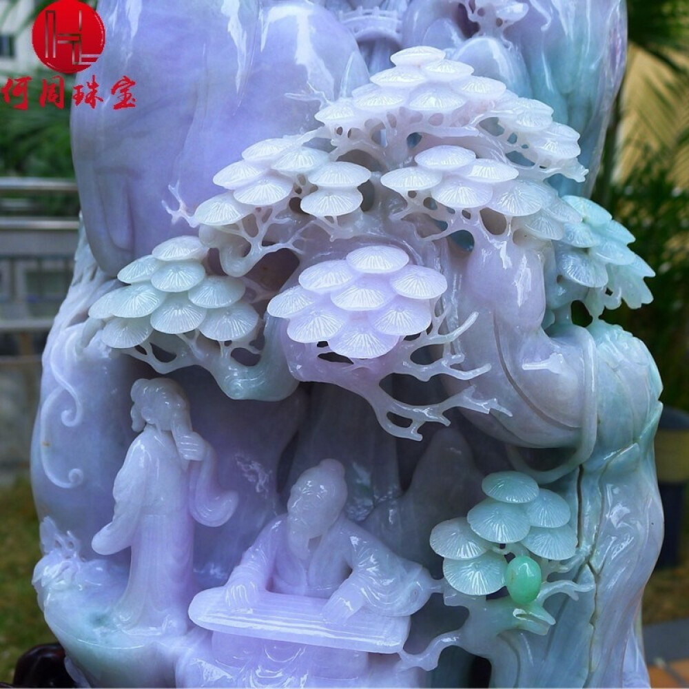 Hezhou jewelry!Myanmar natural jade!Landscape hand-carved decoration!Living room desk accessories!25.45jins 2