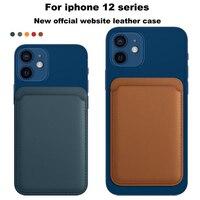 Funda trasera de lujo Original para iPhone 13, 12 Pro Max, adsorción magnética, billetera de cuero PU para iPhone 12, 13, Mini bolsa para tarjetas