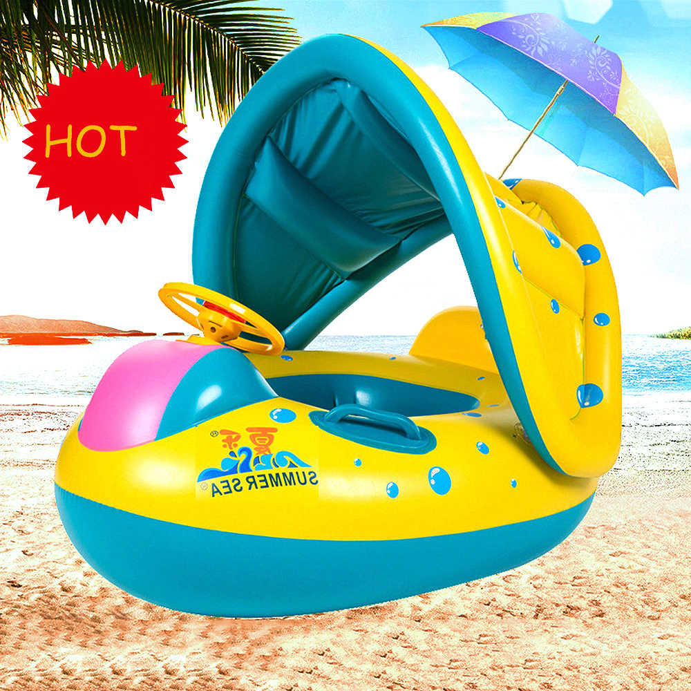 Inflatable Baby Swimming Ring Kids Summer Swimming Pool Swan Swim Float Water Fun Pool Toys Swim Ring Seat Boat Sport for 3-6Y